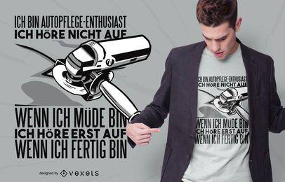 Diseño de camiseta de cita de entusiasta del cuidado del automóvil