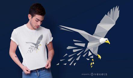 Diseño de camiseta de águila poligonal