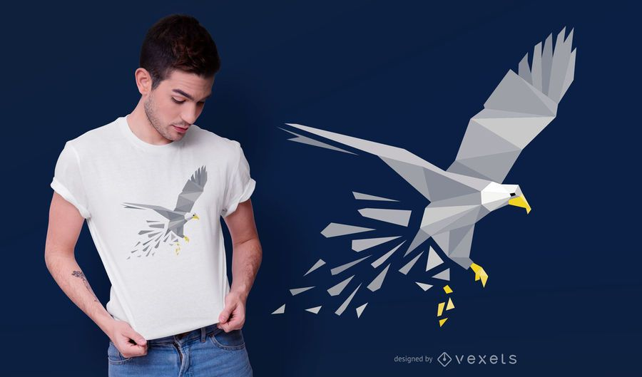 Polygonal Eagle T-shirt Design