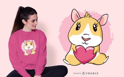 Design de t-shirt da cobaia de coração