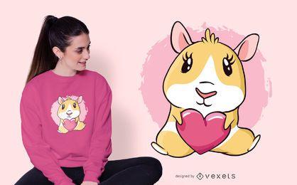 Diseño de camiseta Heart Guinea Pig