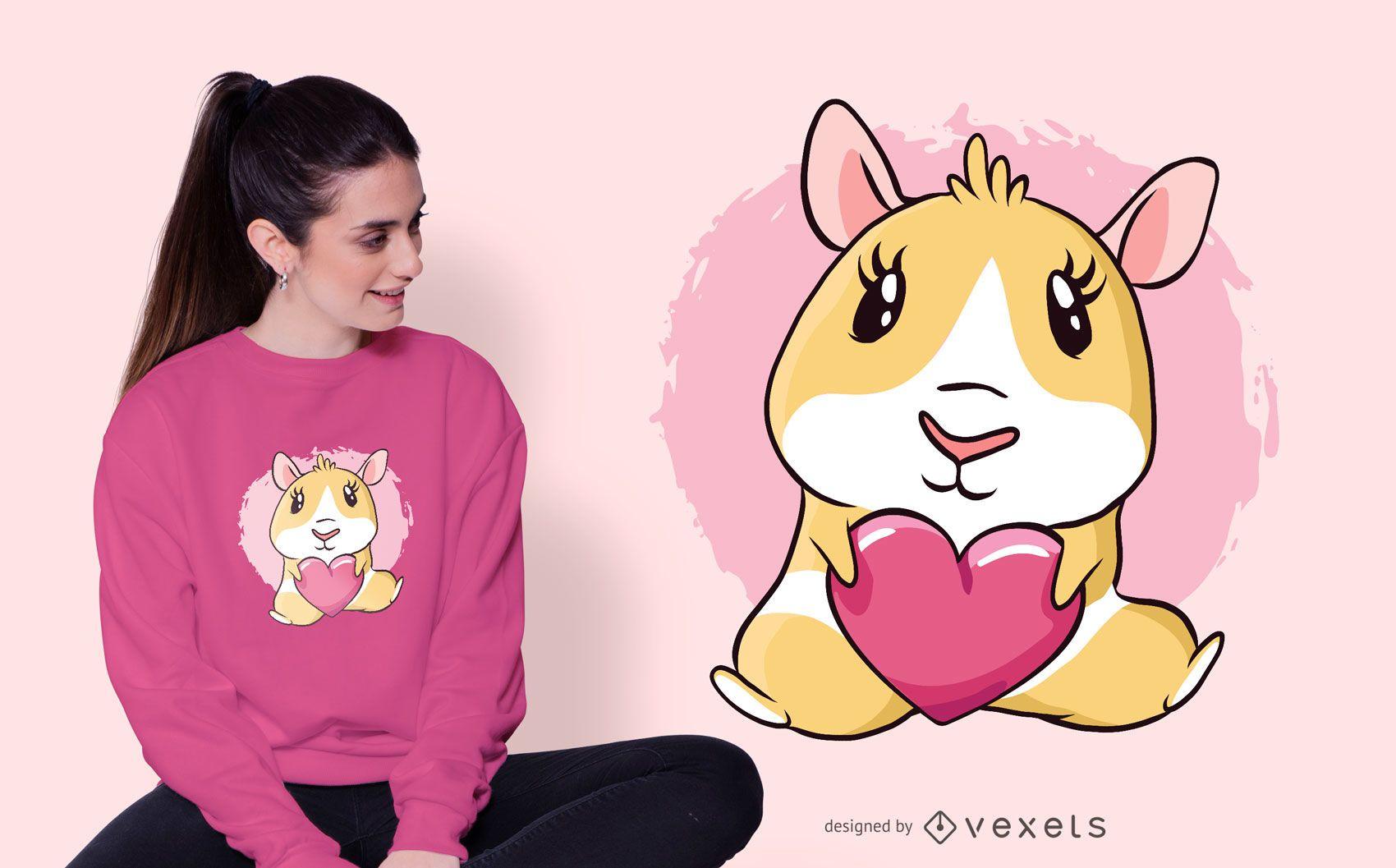 Design de t-shirt com coração de cobaia