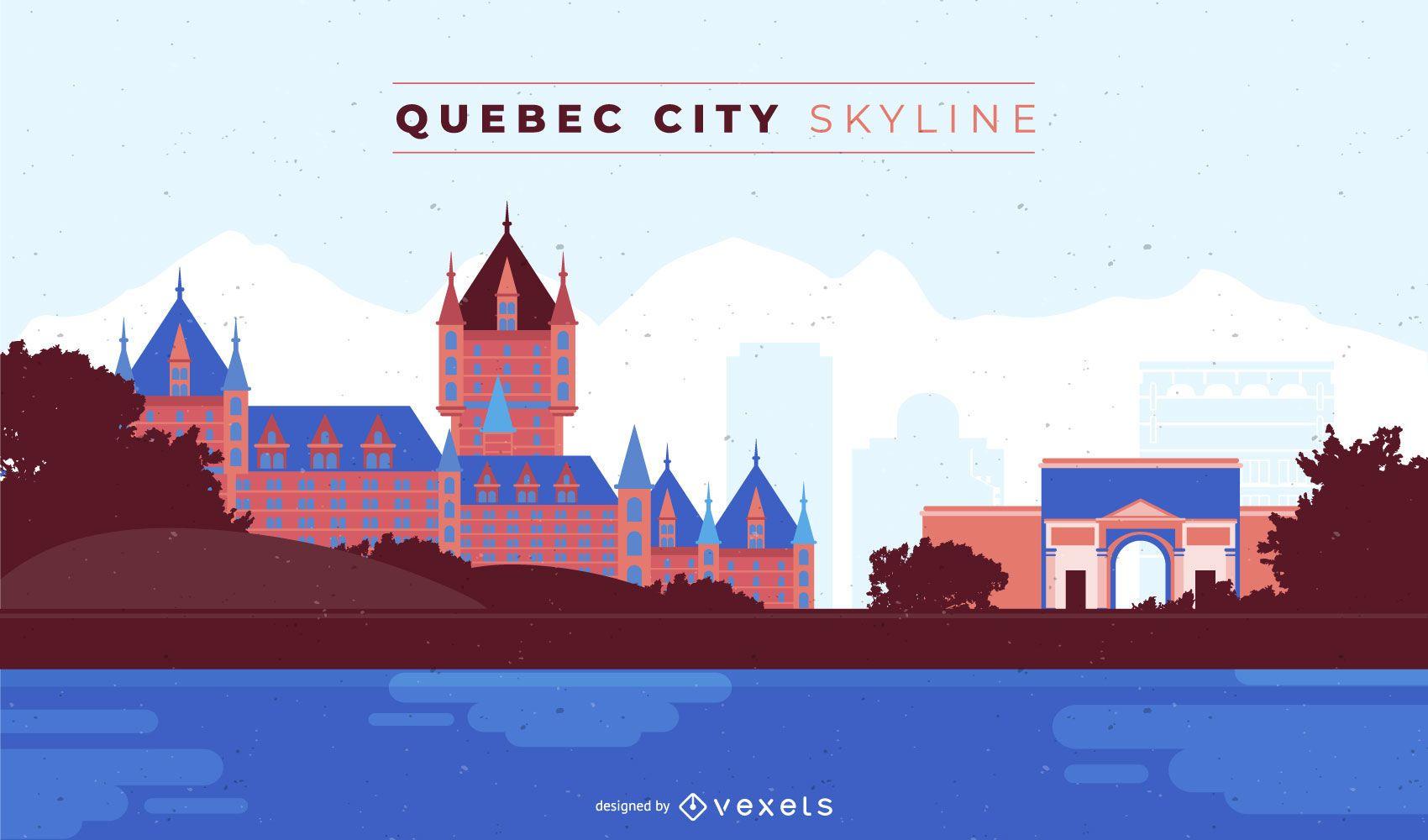 Quebec City Colored Skyline Design