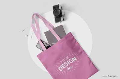 Tote bag stationery mockup psd