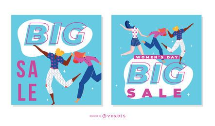 Conjunto de banner de venta del día de la mujer