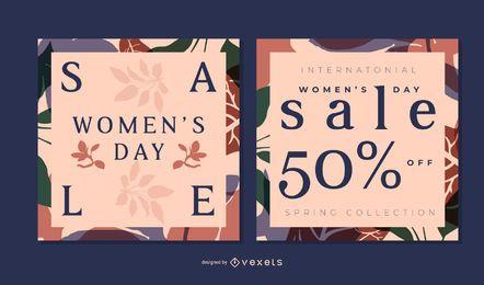 Conjunto de banner floral del día de la mujer