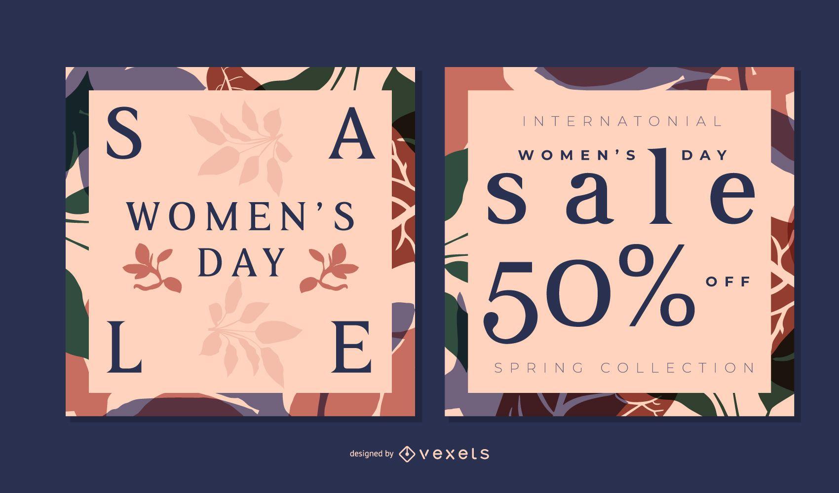 Women's day floral banner set