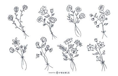 Botanical flowers hand drawn set