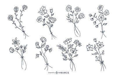 Conjunto de flores botânicas mão desenhada