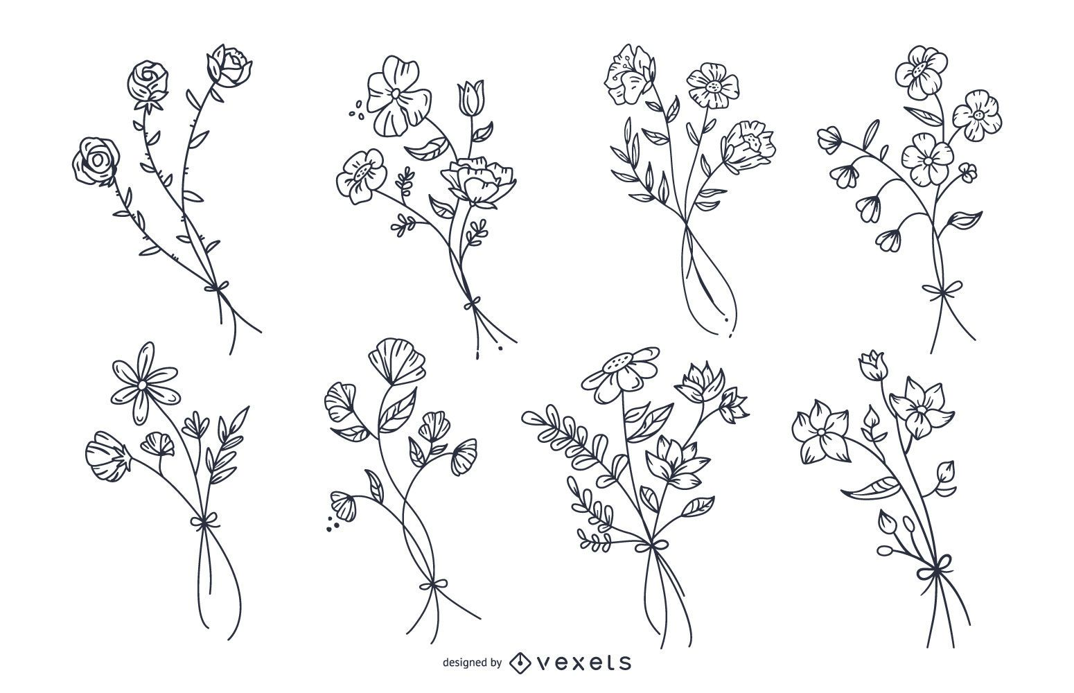 Botanical flowers hand drawn set