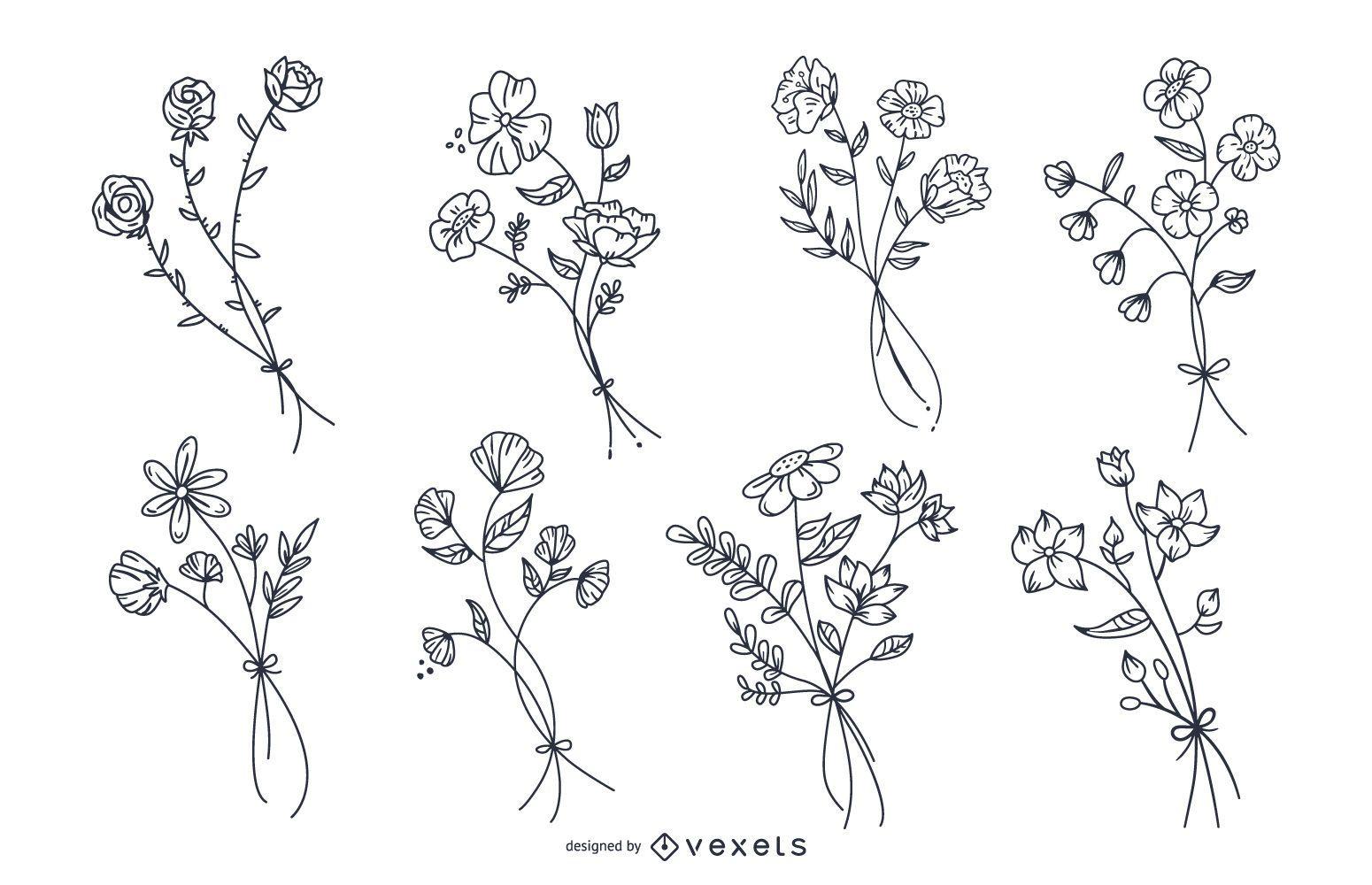 Conjunto de flores bot?nicas desenhadas ? m?o