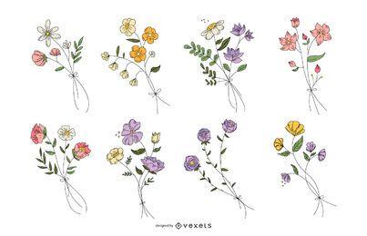 Conjunto de flores botánicas