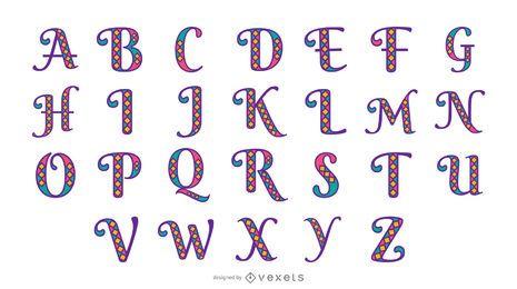 Conjunto de alfabeto de mardi gras