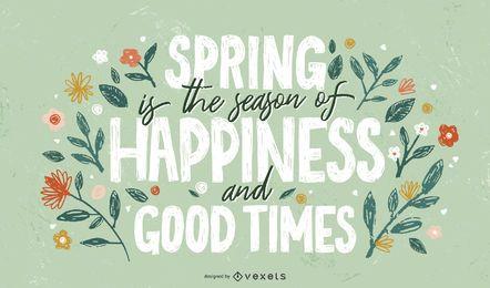 Frühling fröhliche Jahreszeit Schriftzug