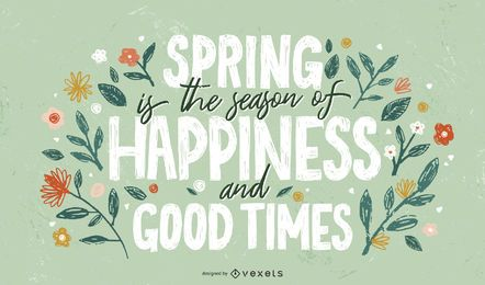 Spring happy season lettering