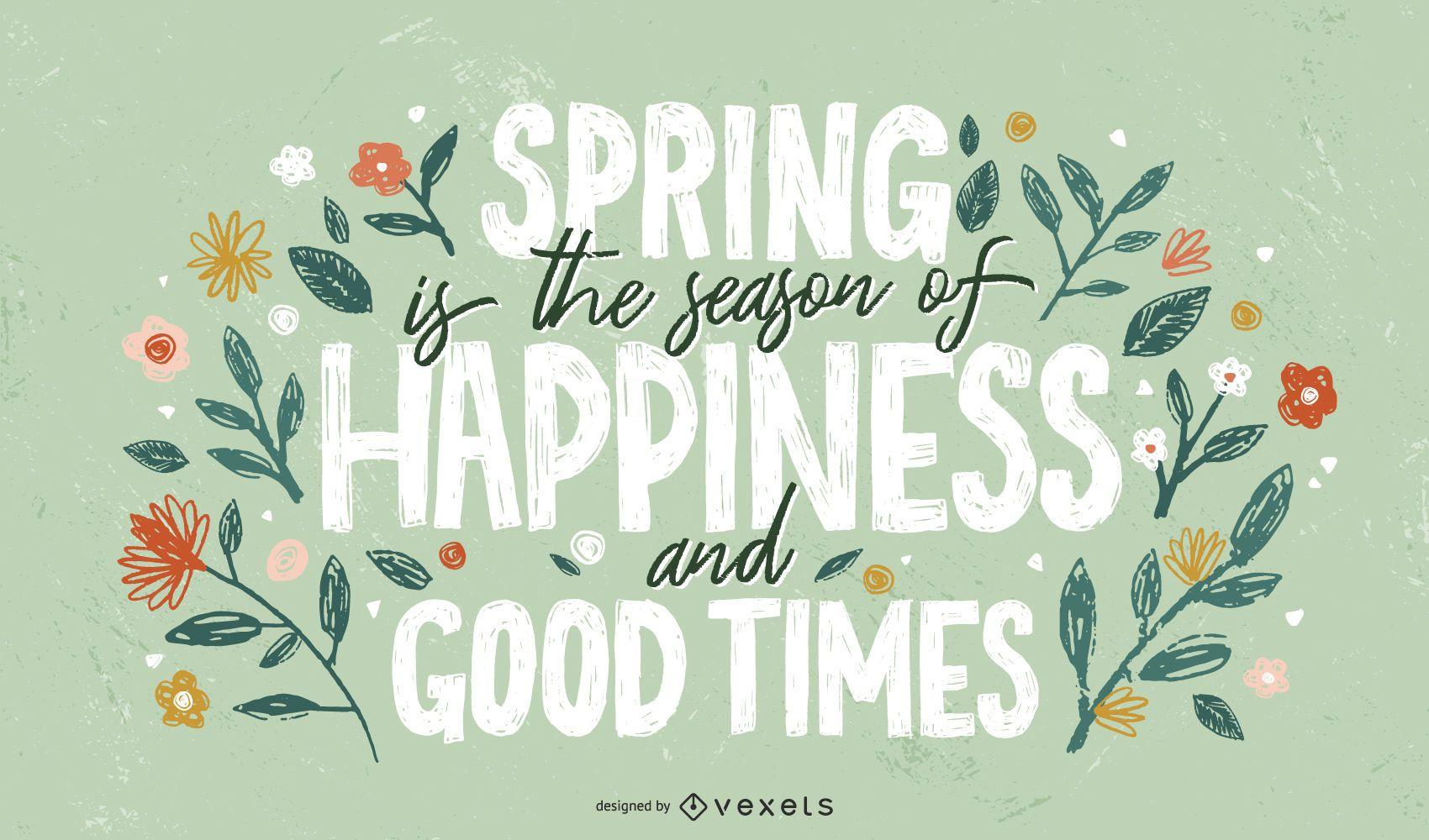 Spring happy season lettering