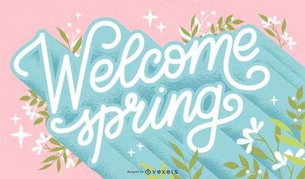 Welcome spring lettering design