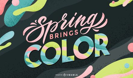 A primavera traz o design de letras coloridas