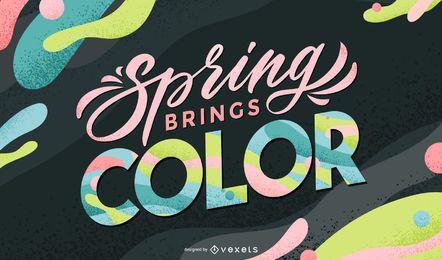 Primavera traz design de letras coloridas
