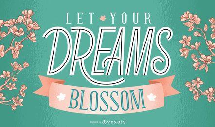 Design de letras de flores dos sonhos da primavera