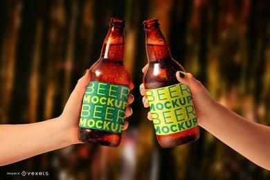 Maquete de garrafas de cerveja