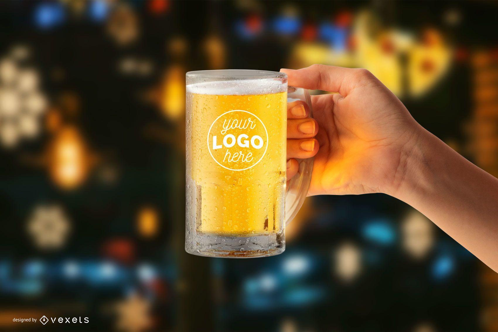 Maquete de caneca de cerveja