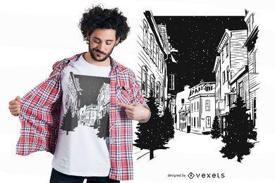 Diseño de camiseta de las calles de Quebec