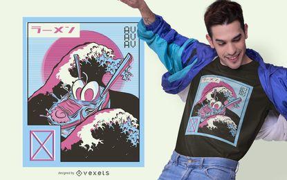 Diseño de camiseta de Ramen Vaporwave