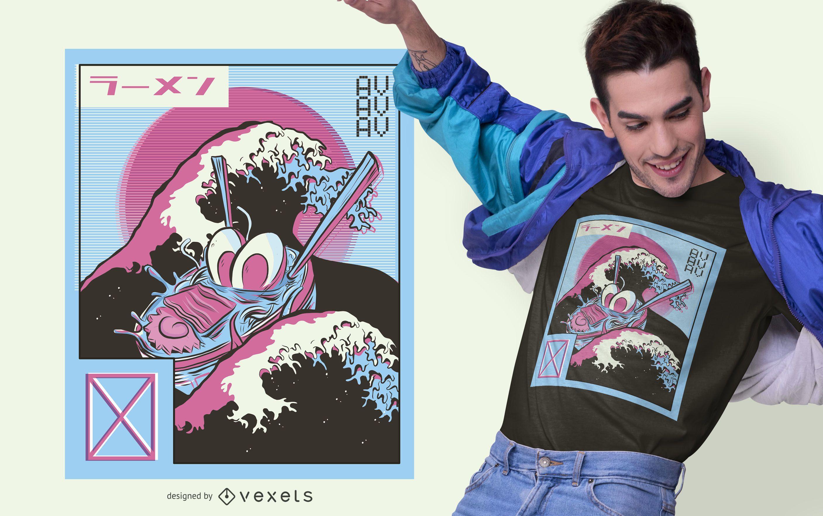 Ramen Vaporwave T-shirt Design