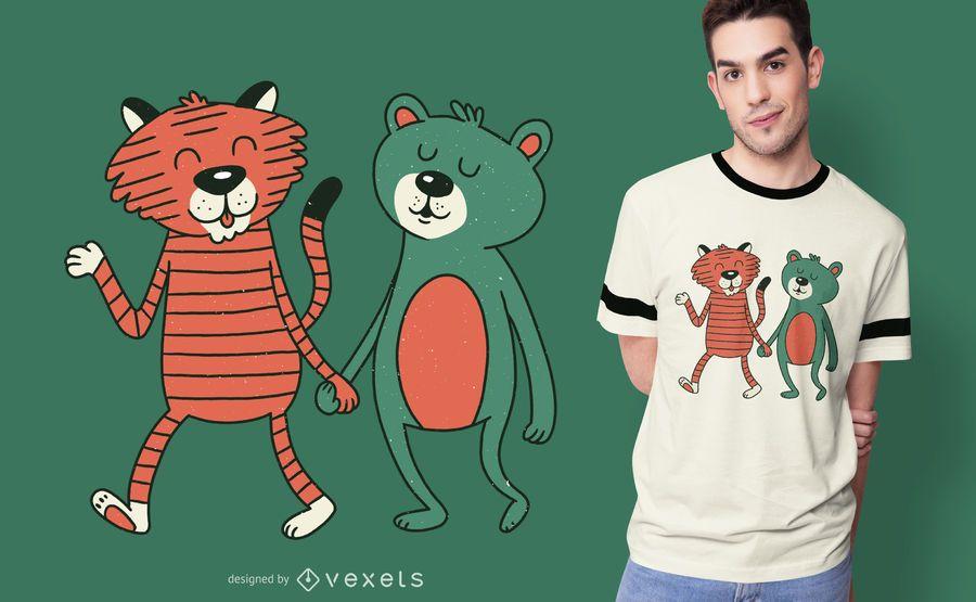 Diseño de camiseta oso y tigre