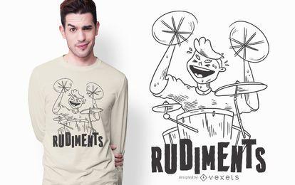 Diseño de camiseta de rudimentos de tambor