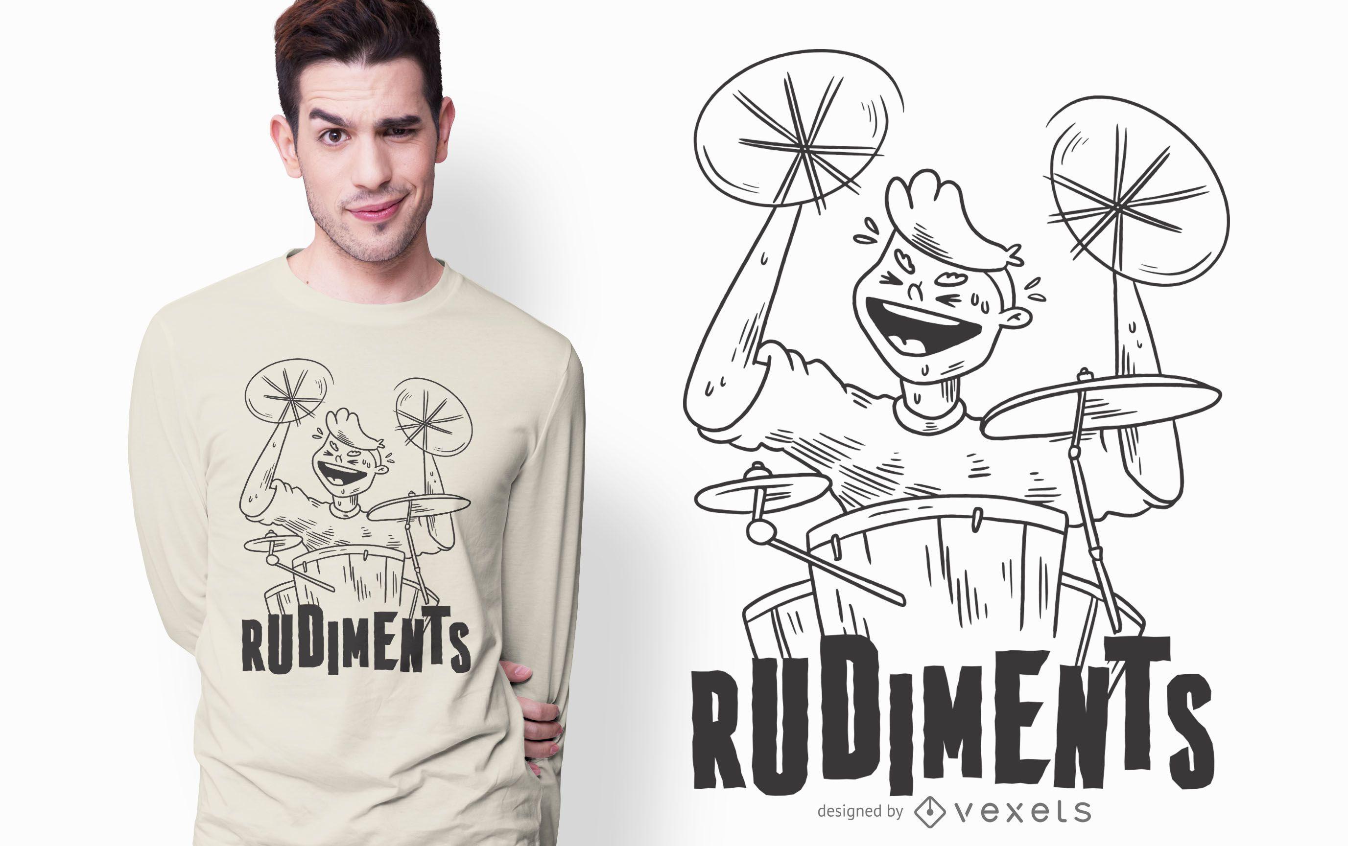 Dise?o de camiseta de rudimentos de tambor.