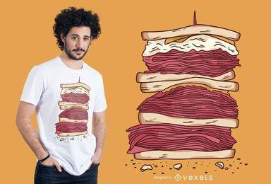 Diseño de camiseta de sandwich de carne.