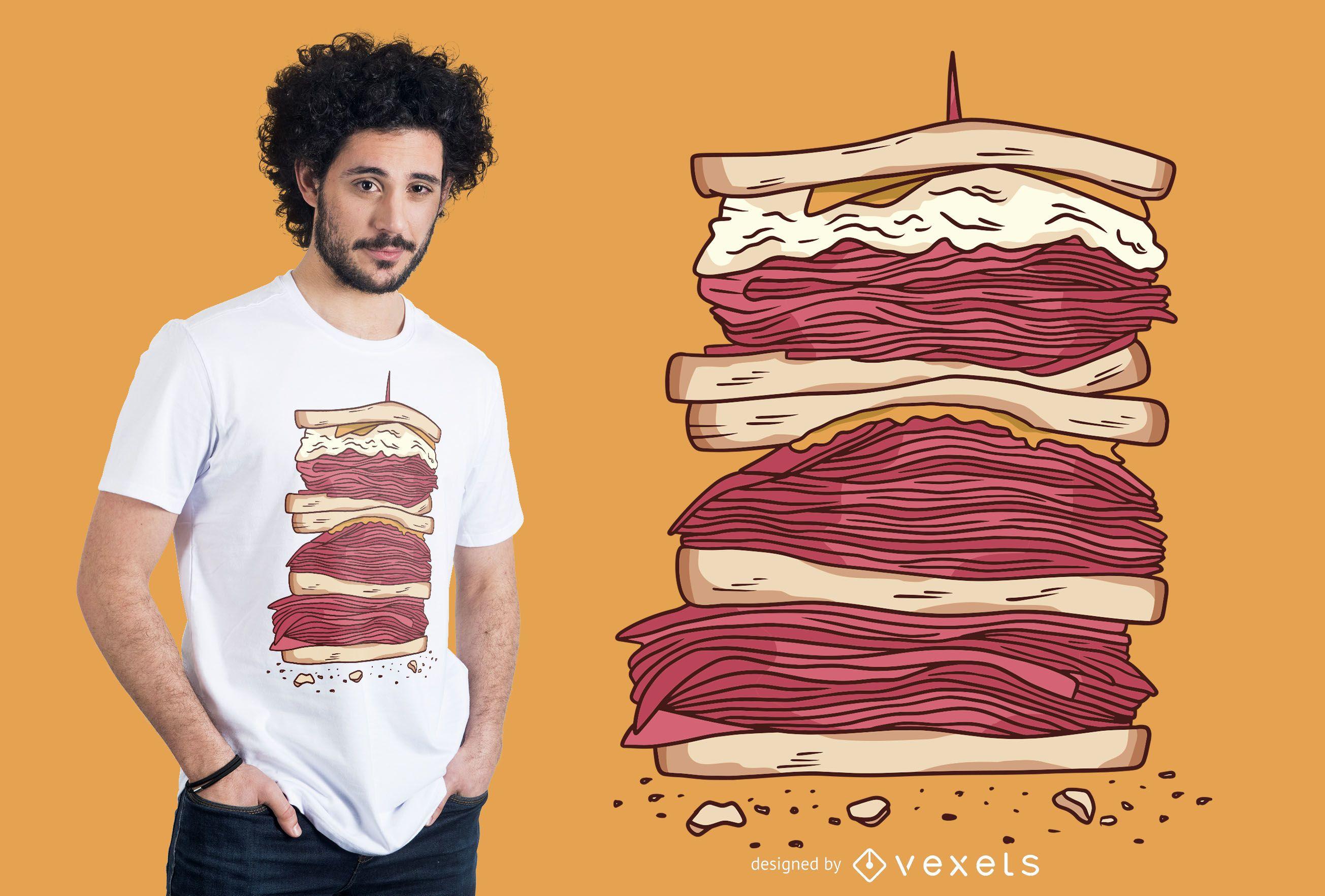 Meat sandwich t-shirt design