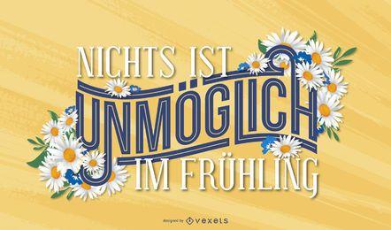 Desenho de letras em alemão da primavera