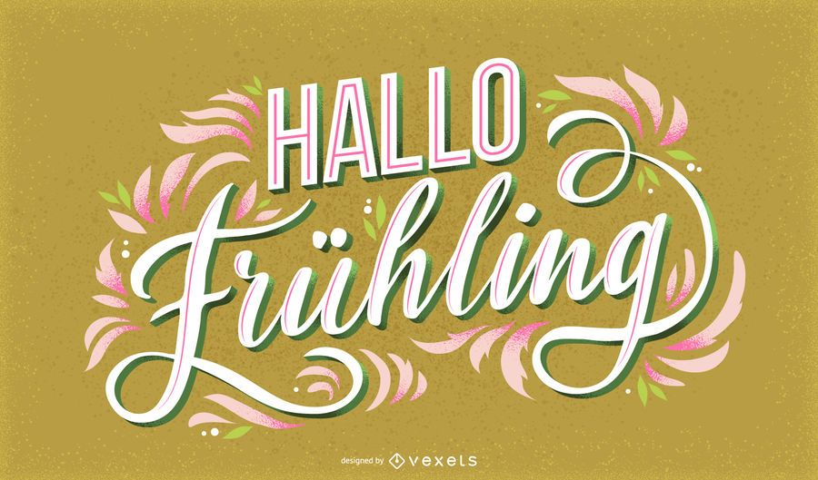Hello Spring german lettering