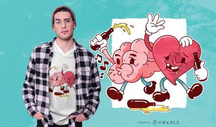 Diseño de camiseta borracho de corazón y cerebro