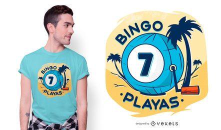 Diseño de camiseta de bingo playas