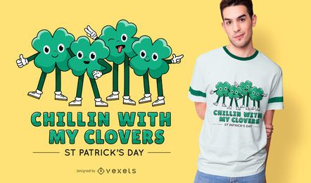 Diseño de camiseta de chillin clovers patrick