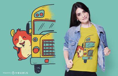 Diseño de camiseta del autobús escolar de Guinea Pig