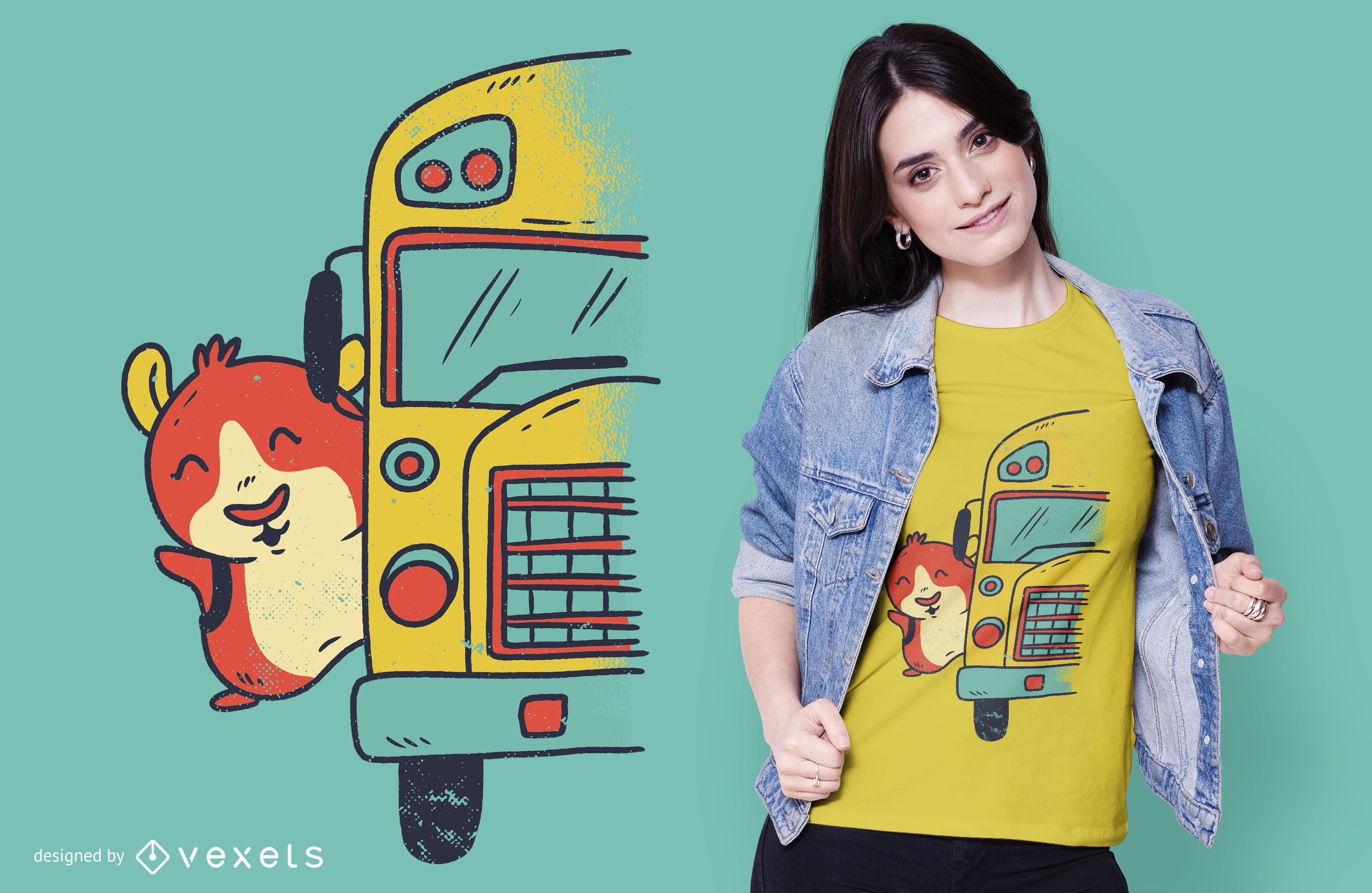 Diseño de camiseta de autobús escolar Guinea Pig
