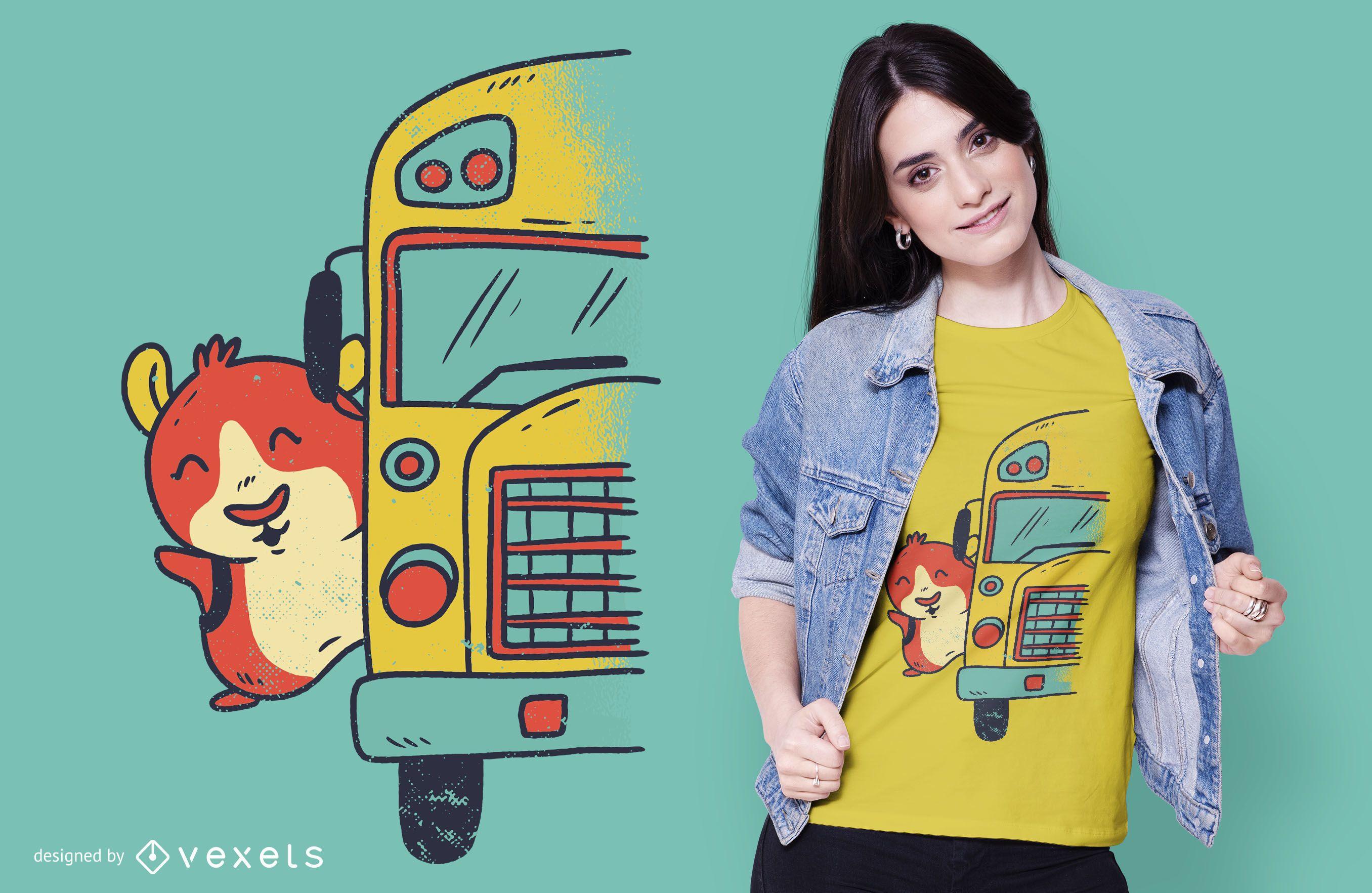 Meerschweinchen Schulbus T-Shirt Design
