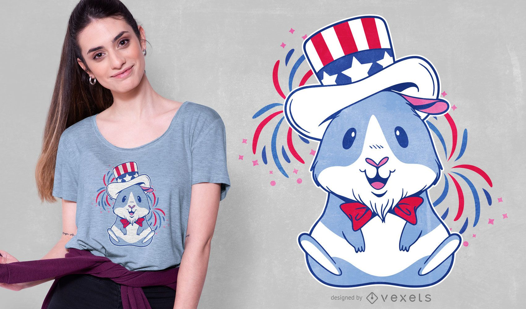 Diseño de camiseta American Guinea Pig