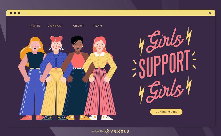Design da página de destino do dia da mulher