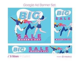 Conjunto de banner publicitario del día de la mujer