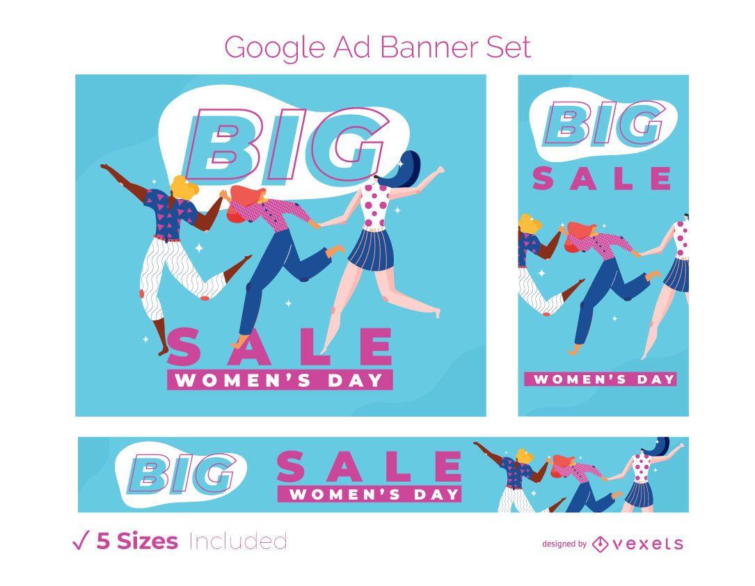 Conjunto de banners de anúncios para o dia da mulher