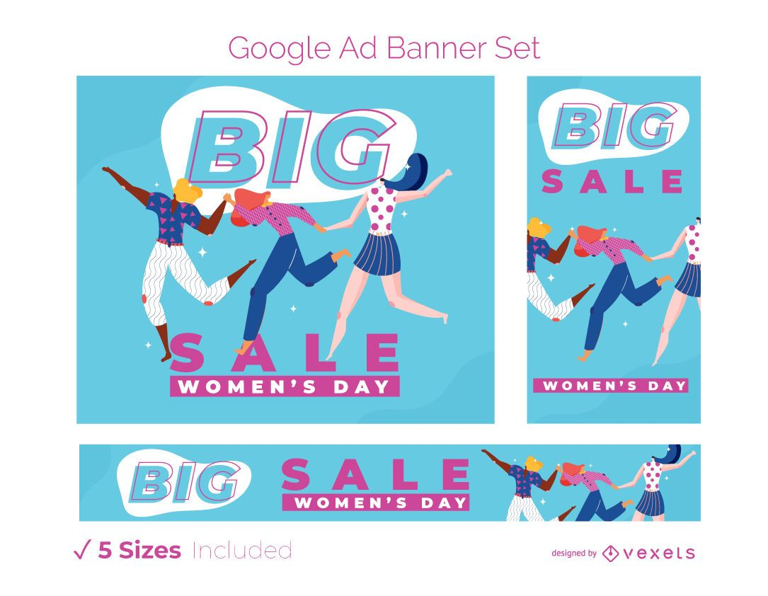 Women's day ad banner set
