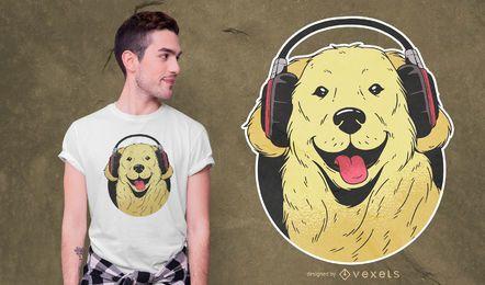 Design de camiseta do Golden Retriever com fone de ouvido