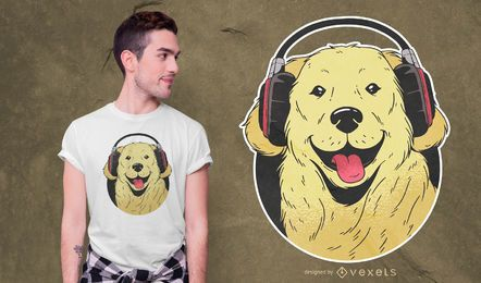 Headphone Golden Retriever T-shirt Design