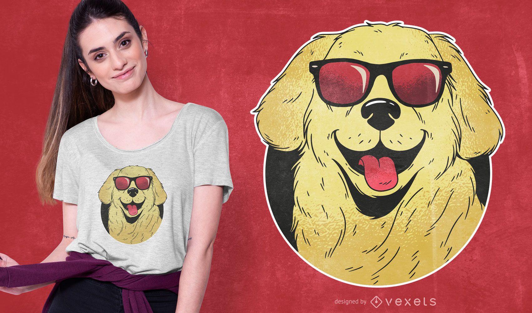 Diseño de camiseta de perro con gafas de sol